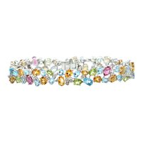 Multi Colored Stone 18K White Gold Bracelet