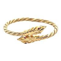 Vintage 18K Gold Twisted Snake Bangle Bracelet