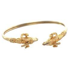 Vintage 14K Yellow Gold Rams Head Bangle Bracelet