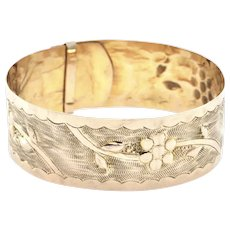 Vintage 14K Yellow Gold Flower Cuff Bracelet