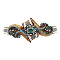 1860's Austro-Hungarian Emerald and Diamond 18K Gold Enamel Bangle Bracelet