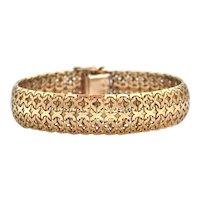 Vintage 18K Yellow Gold Woven Link Bracelet