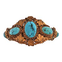 Antique French Vermeil Turquoise Bracelet C. Late 19th Century