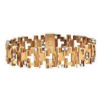 1960's David Sackman & Son for Birks 1.2CT Diamond and 18K Gold Bracelet