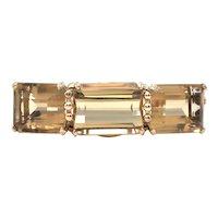 1950's 14K Yellow Gold and 76CT Citrine Hinge Bangle Bracelet