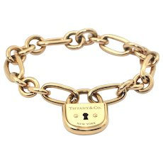 Tiffany & Co. 18K Yellow Gold Lock Chain Link Bracelet