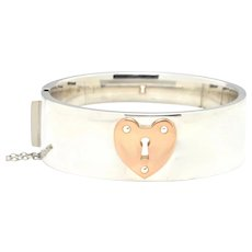 Vintage Tiffany & Co. Large Hinged 925 Sterling Silver Bangle with 18K Rose Gold Heart