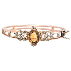 Vintage 3CT Citrine and Seed Pearl 9k Rose Gold Hinged Bangle Bracelet