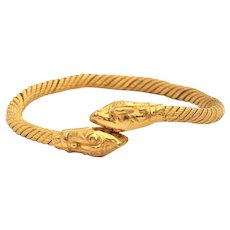 Vintage Egyptian 22K Yellow Gold Snake Cuff Bracelet
