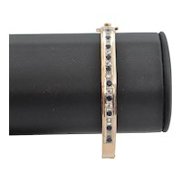 Diamond and Sapphire 14K Yellow Gold Hinged Cuff Bracelet