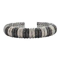 10.8 CT White and Black Diamond 18k White Gold Cuff Bracelet