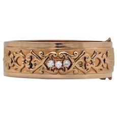 Retro French Diamond Rose Gold Hinged Cuff Bracelet