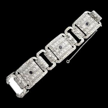 Antique Art Deco Platinum 11.64ct Diamond and Sapphire Panel Bracelet