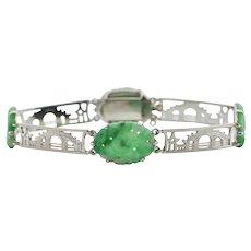 Antique Art Deco Craved Jade Panel Link 9k White Gold Bracelet