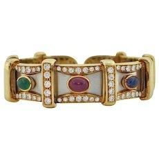 Precious Gem Cuff Bracelet 18k yellow & white gold - Fine Quality