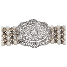 Edwardian Diamond and Pearl Bracelet