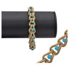 Vintage French Gold and Turquoise Fancy Link Bracelet