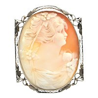 Vintage 14K White Gold Shell Cameo Brooch/Pendant of Woman