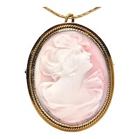 Vintage 18K Yellow Gold Shell Cameo Brooch/Pendant of Woman Looking Upwards