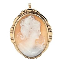 Vintage 10K Yellow Gold Shell Cameo Pendant/Brooch of a Woman
