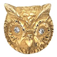 1960's 18K Yellow Gold and Diamond Owl Brooch