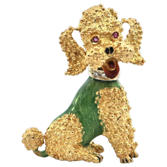 1950's Italian 18K Yellow Gold Poodle in Enamel Coat with Ruby Eyes and Diamond Collar