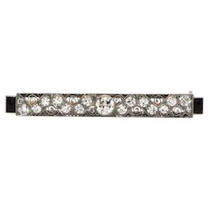Art Deco Tiffany & CO 1.32 CT Diamond and Onyx Platinum Bar  Pin C.1920