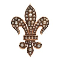 French 14K Yellow Gold and Seed Pearl Fleurs de Lis Brooch/Pendant C.1880