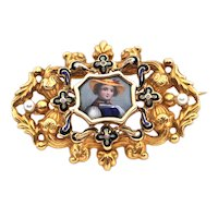 Vintage 18K Yellow Gold and Enamel Brooch with Seed Pearl
