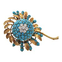Retro Turquoise and Diamond Flower Brooch