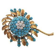 Retro Turquoise and Diamond Flower Brooch