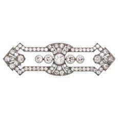 Antique Art Deco Diamond Brooch in Platinum C.1915
