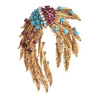 Retro Brooch with Articulated Feather Branches in 18k Yellow Gold