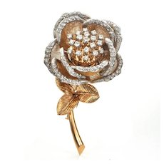 French 2.28ct Diamond Rose Trembler in 18K Yellow Gold and Platinum C. 1915