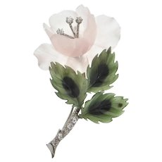 Vintage Diamond, Rose Quartz and Nephrite Jade 14K White Gold Flower Brooch