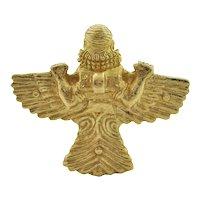 Vintage Solid 'Urart' 18K Yellow Gold Winged God Brooch