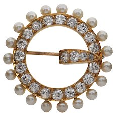 Antique 'Tiffany & Co.' Pearl and Diamond Brooch