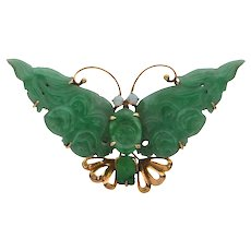 Mid-Century Jade and Opal Gold Butterfly Brooch (C.1950-1960)