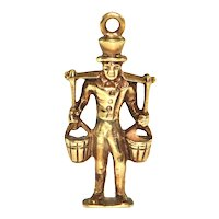 Vintage 14K Yellow Gold Water Bucket Carrier Charm