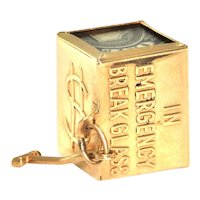 Vintage 14K Yellow Gold 'In Emergency Break Glass' Box Charm