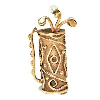 Vintage 10K Yellow Gold Golf Bag Charm with Three Clubs with Seed Pearls