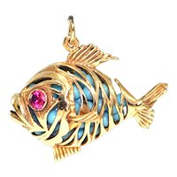Vintage 14K Yellow Gold Fish Charm