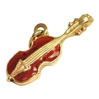 Vintage 18K Yellow Gold Violin Charm