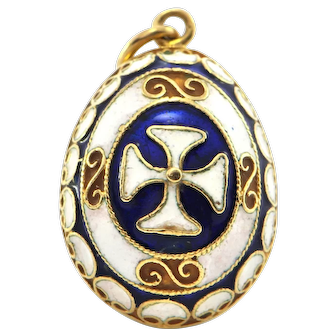 Vintage 18K Yellow Gold and Enamel Egg Charm