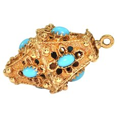 Vintage Lantern charm, 14K yellow gold with blue glass accents