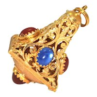 Vintage Lantern charm, 18K yellow gold with red and blue glass