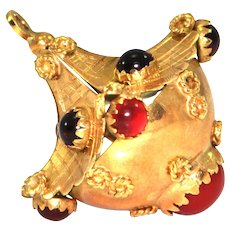 Vintage Lantern charm, 18K yellow gold with red glass