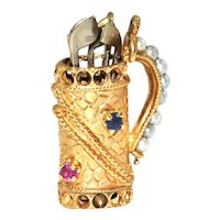 Golf Bag charm with Seed Pearls, Rubies and Sapphires in 14K yellow gold