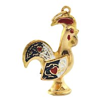 Vintage Enamel 18K Yellow Gold Rooster Charm