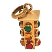 Vintage 18k Gold traffic light charm